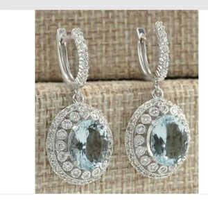 Aquamarine and white Topaz sterling silver earring
